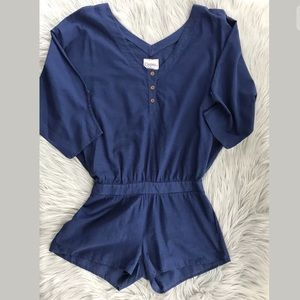 Gypsy 05 Cotton Romper Dolman Sleeves Blue Boho